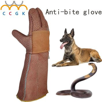 Thick Leather Anti-bite gloves tactical animal training for dog cat snake bite anti-scratch protective Training Feeding gloves
