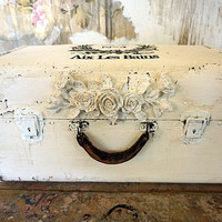 Distressed leather white suitcase painted shabby cottage white embellished in stencil French farmhouse wording home decor anita spero design