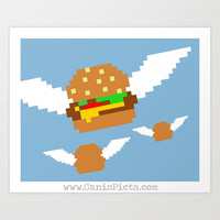 8-bit Flying Burgers Television Show Pop Art Print TV Pop Culture Humor Flying Cheeseburgers Hamburgers Fast Food Funny Foodie Blue Pixel