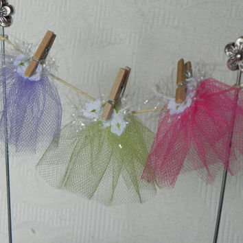 Fairy Garden Clothesline miniature fairy skirts tutu