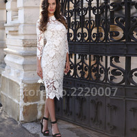 New Short Lace Mother of The Bride Dresses Three Quarter Knee-length Women Cloths High-neck Women Wedding Occasion Dresses