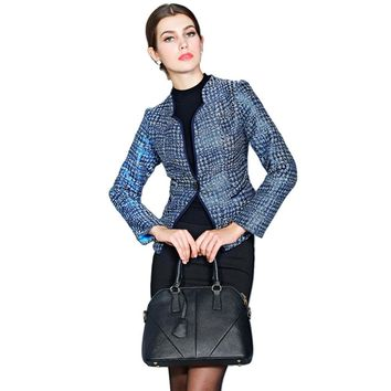 OL Style Stand Collar Houndstooth Jacket for Women