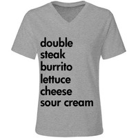 Double Steak Burrito: Custom Misses Relaxed Fit LA T V-Neck T-Shirt - Customized Girl