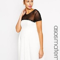 ASOS Maternity | ASOS Maternity Midi Skater Dress with Waffle Texture & Embellishment at ASOS