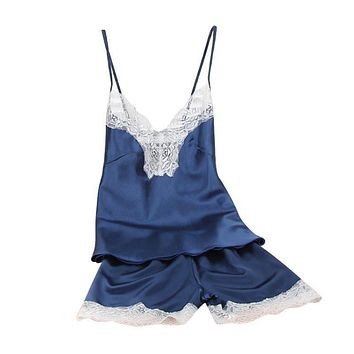 Women Satin Lace Robe Dress Sexy Shorts Babydoll Sleepwear Nightwear Set