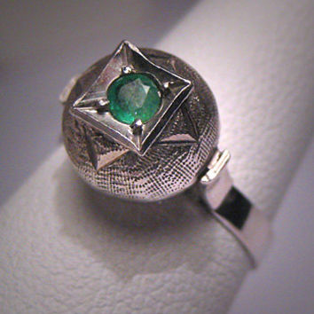 Antique Emerald Wedding Ring Vintage Art Deco Retro