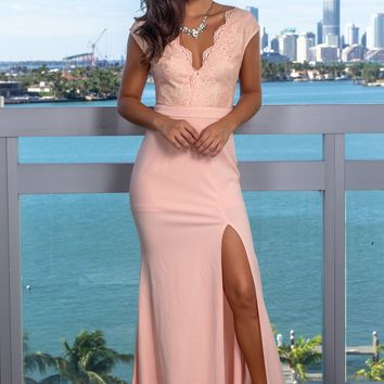 Pink Lace Top Maxi Dress with Side Slit