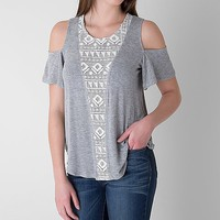 Women's Cold Shoulder T-Shirt in Grey by Daytrip.
