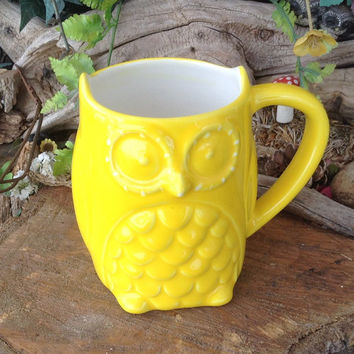 Ceramic OWL Mug Cup - Coffee Tea or decoration - Kitchen Vessel Large  Cup - sunshine yellow