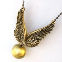 Steampunk Golden Snitch Locket Necklace Orb Wizard A