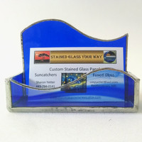 Business Card Holder--Cobalt Blue Swirl - Stained Glass - Desk Accessory - Office Decor - Office Gift
