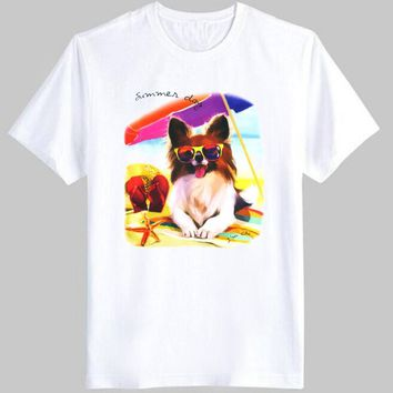 Adorable Papillon Toy Spaniel Puppy Graphic Print T-Shirt in White | DOTOLY