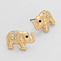 Elephant Stud Earrings Gold