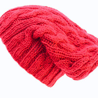 Knitted Hipster Slouchy Hat Beanie in Autumn Red - Acrylic Yarn