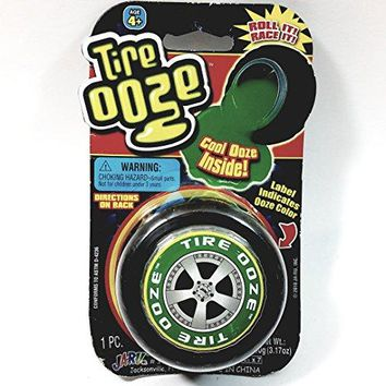 Tire OOZE With Wheel Shaped Container With Green  Slime Inside 3.17 oz Of Goop