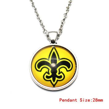 1pcs/lot Round New Orleans Saints Vintage Pendant Necklace With 50cm Chains Necklace For Football Fans Necklace DIY Jewelry