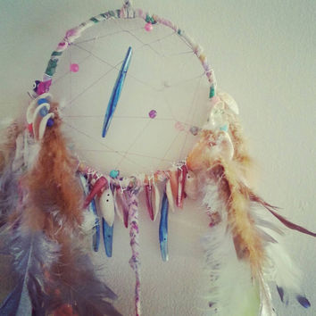 Galaxy Dreams Dream Catcher with Vintage Shells and Beads, gift for mom, gift for her, gift for him, Baby Nursery, Bedroom Decor