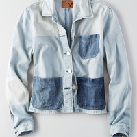 AEO Colorblock Denim Jacket, Medium Wash