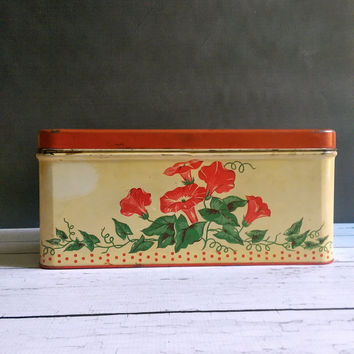 Antique Tin Bread Box/ Vintage Bread Box/ Retro Kitchen Ware/ Antique Tin Storage Box