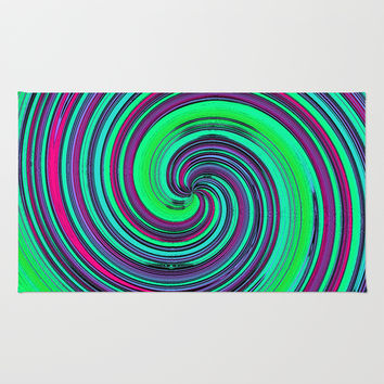 Psychedelic Retro Swirl - Pattern Rug by Moonshine Paradise