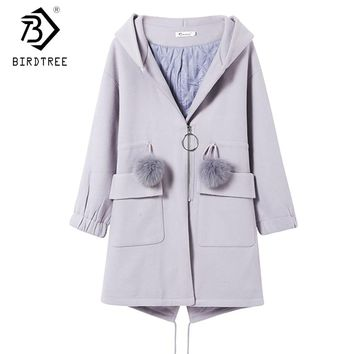 2018 New Arrival Fashion Ladies Wool & Blends Full Sleeve Hooded Wide-waisted Solid Adjustable Waist Slim Women Coats C89416QD