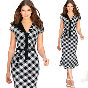 Plaid Cap Sleeve Bodycon Fishtail Midi Dress with One Pocket
