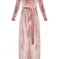 Rose Velvet Wrap Maxi Dress