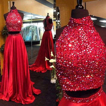 High Neck Two Pieces Beading Red Prom Dress