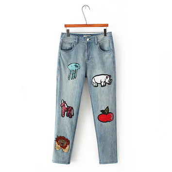 Summer Embroidery Rinsed Denim Weathered Pants Jeans [6332324612]
