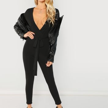 Plunging Neck Form Fitting Jumpsuit