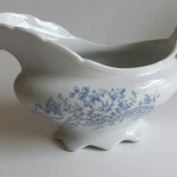 Rare Antique Gravy Boat Blue and White Gravy Boat Vodrey China Blue Transferware Blue and White China Blue and White Gravy Boat
