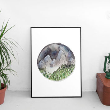 adventure decor, mountain print, wall art prints, art prints, wall decor, mountain landscape, watercolor print