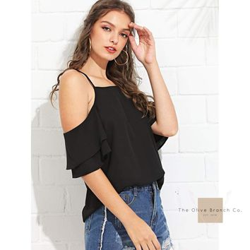 Cold Shoulder Layered Sleeve Top