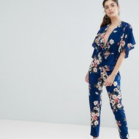 Boohoo Tie Front Open Back Floral Jumpsuit at asos.com