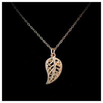 14k Gold Filled Dainty and Beautifully  Detailed Leaf Necklace by Tickle Bug Jewelry.