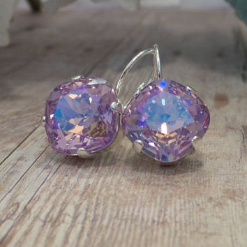 VIOLET RAINBOW,swarovski earrings, lever backs, crystal, drops, dangles, 12mm, square, cushion cut, dessigner inspired, dksjewelrydesigns