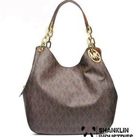 MICHAEL KORS JET SET BROWN GUNMETAL CHAIN SHOULDER BAG
