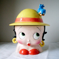 Betty Boop Cookie Jar Yellow Hat Blue Bird 2000
