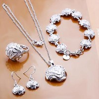 925 silver rose flower necklace bracelet ring earrings fashion jewelry sets new