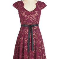 ModCloth Mid-length Cap Sleeves A-line Sweet Staple Dress in Merlot
