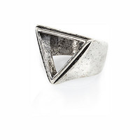 River Island MensSilver tone cut out triangle ring