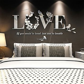 Fashion Home Decor 3D Mirror Love Wall Stickers Quote Flower Acrylic Decal Home DIY Art Wall Sticker