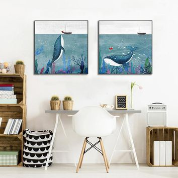 Cartoon Watercolor Whale Fish Girl Boat Posters and Prints Art Canvas Painting Home Decoration Wall Pictures Children Nursery
