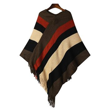 Women Tassel Knitted Sweater Poncho Striped V neck Casual Loose Pullover