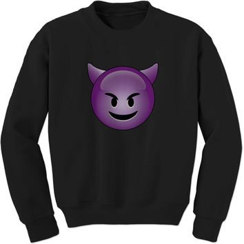 Color Emoticon - Happy Devil Face Smiley Adult Crewneck Sweatshirt