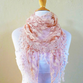 Womens scarf PEACH BEIGE with floral print and richly fringed edge - scarflette shawl neckwarmer - Spring / Summer
