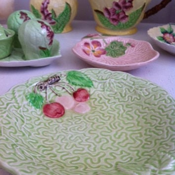 Melba ware cherry jam/ butter dish!! Whimsical, cute, Art Deco, pastel green dish!