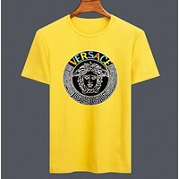 Versace New fashion bust letter human head print couple top t-shirt Yellow