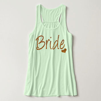 Glitter Print, Bride, Racerback, Bachelorette Party Tank Top, Bridal Party Tank Top