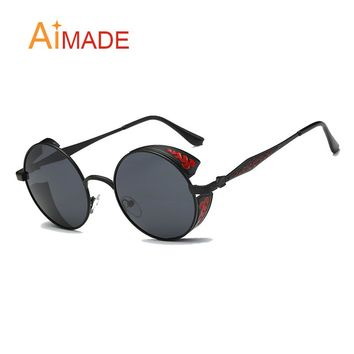 Aimade Fashion Round Steampunk Sunglasses Men Vintage Carving Frame Punk Style Circle Sun Glasses For Male Female Hip Hop Point